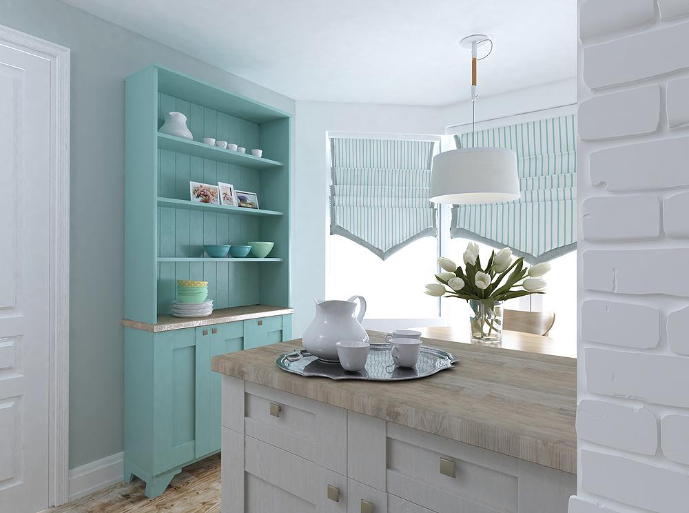 Сочетание двух цветов в интерьере кухни