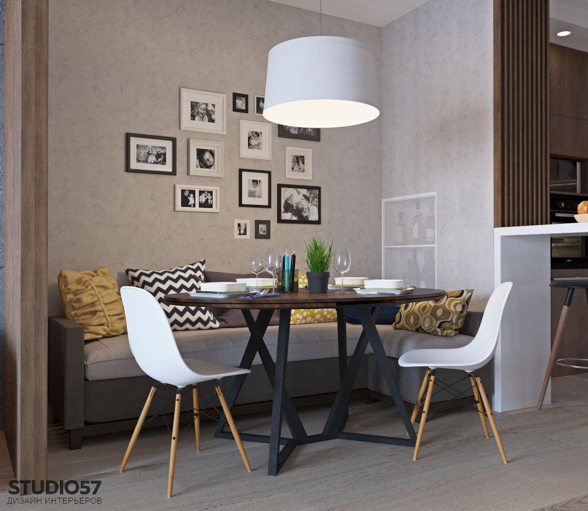 Уютный дизайн столовой зоны в кухне