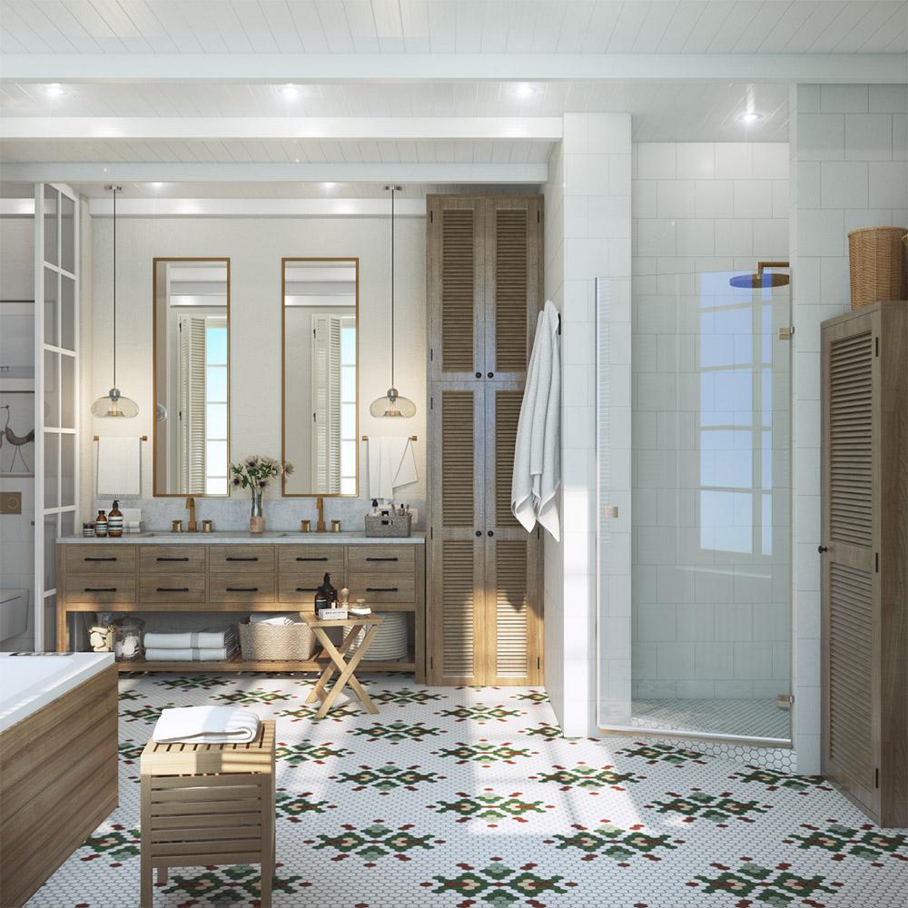 Дизайн большой ванны для всей семьи