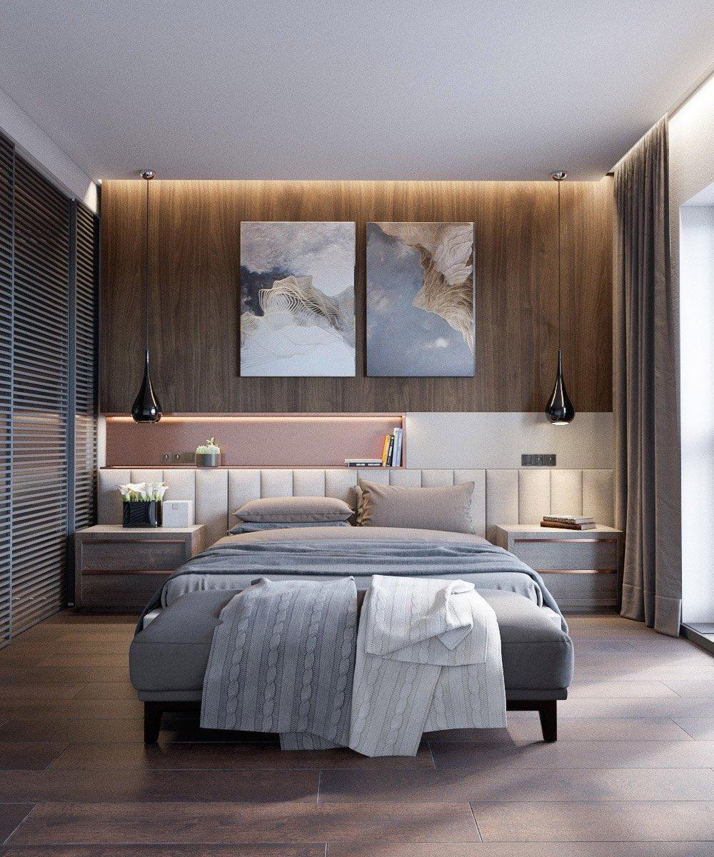 Спальня в эко стиле с деревянным стендом