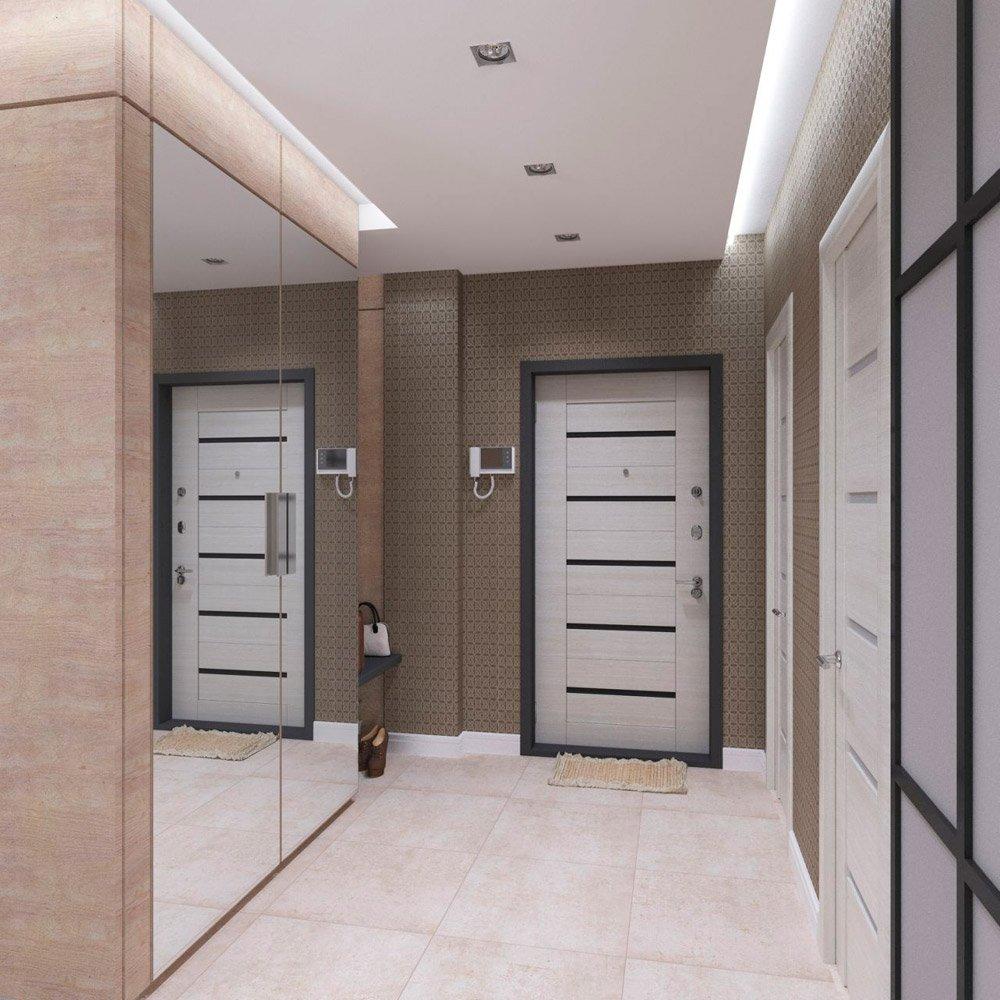 Зеркальный шкаф интерьере прихожей