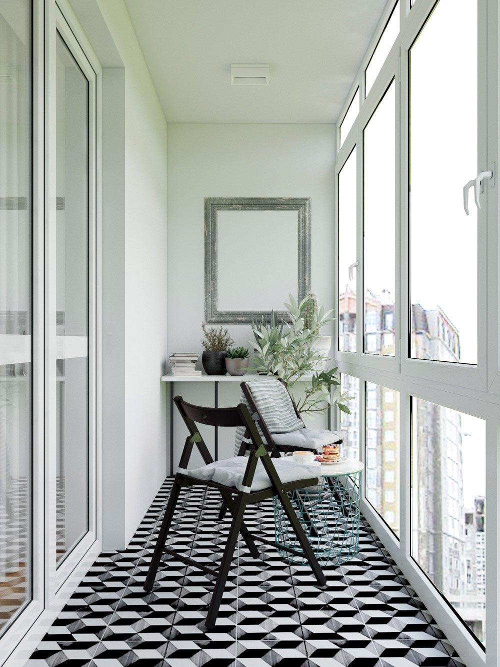 Дизайн длинного узкого балкона