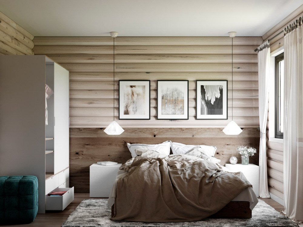 Дизайн спальни под дерево в загородном доме