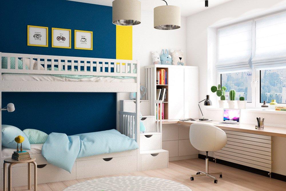Жёлтый и синий цвет в интерьере детской