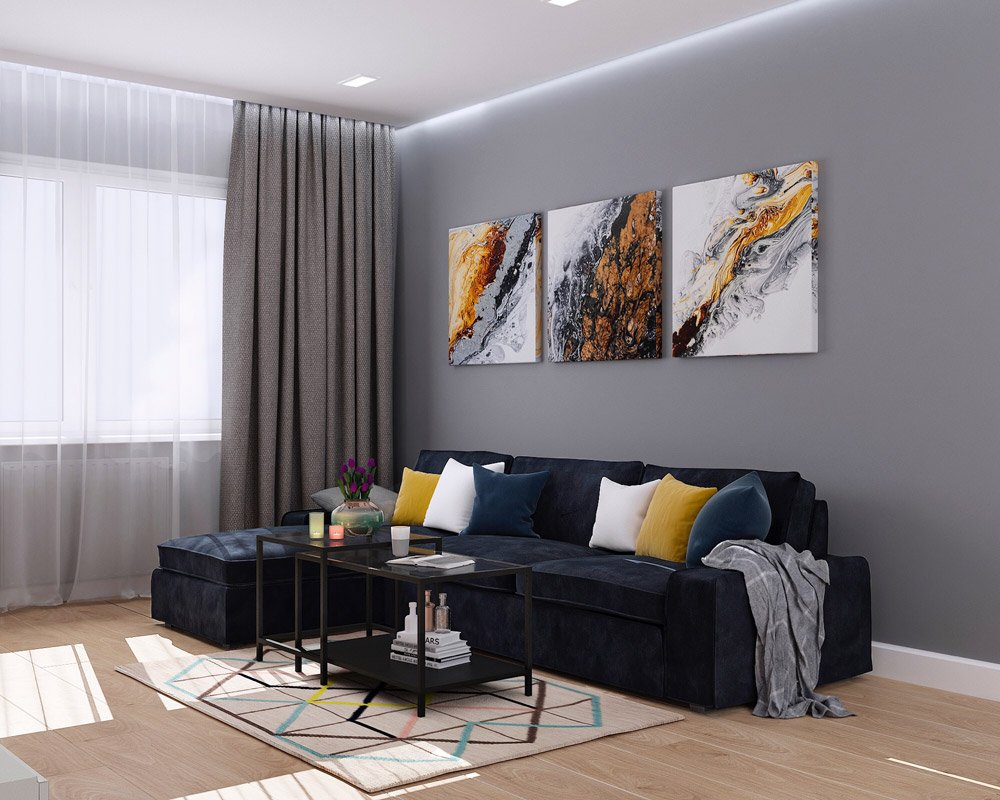 Сочетание синего жёлтого серого в гостиной