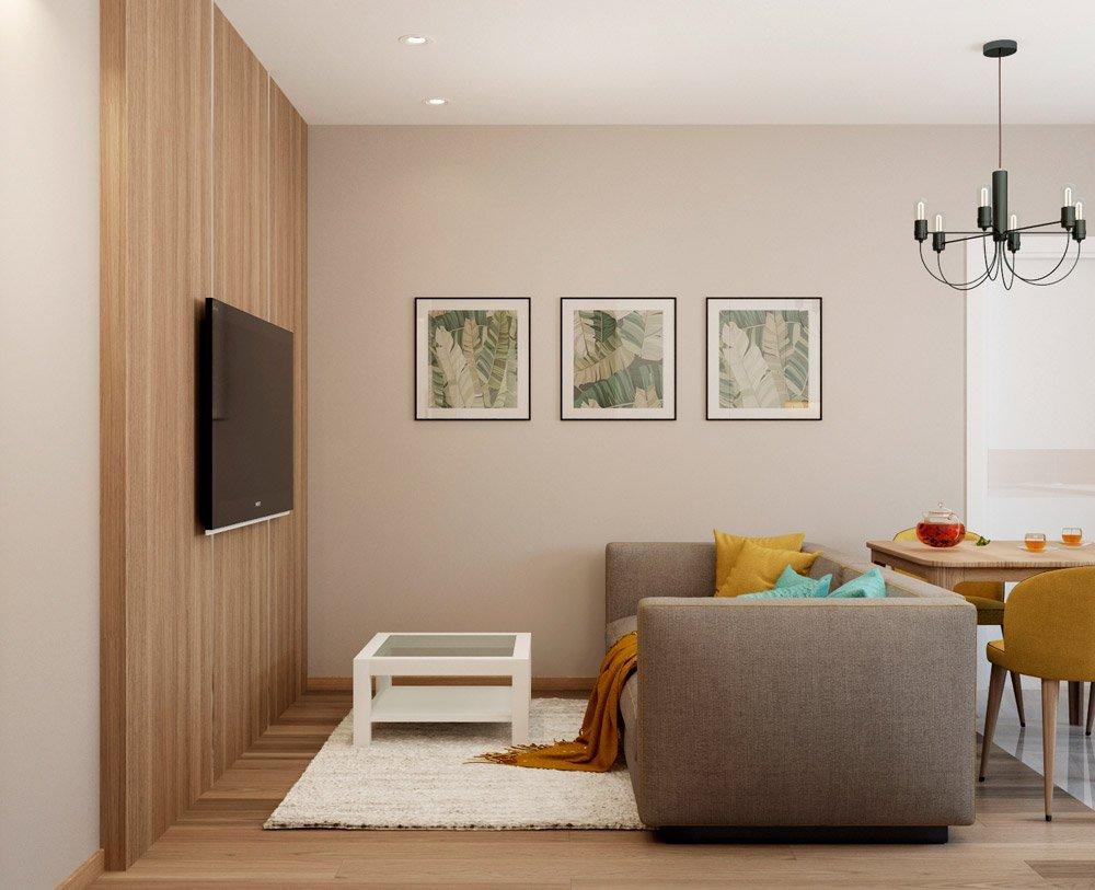 Светлый ламинат в интерьере гостиной