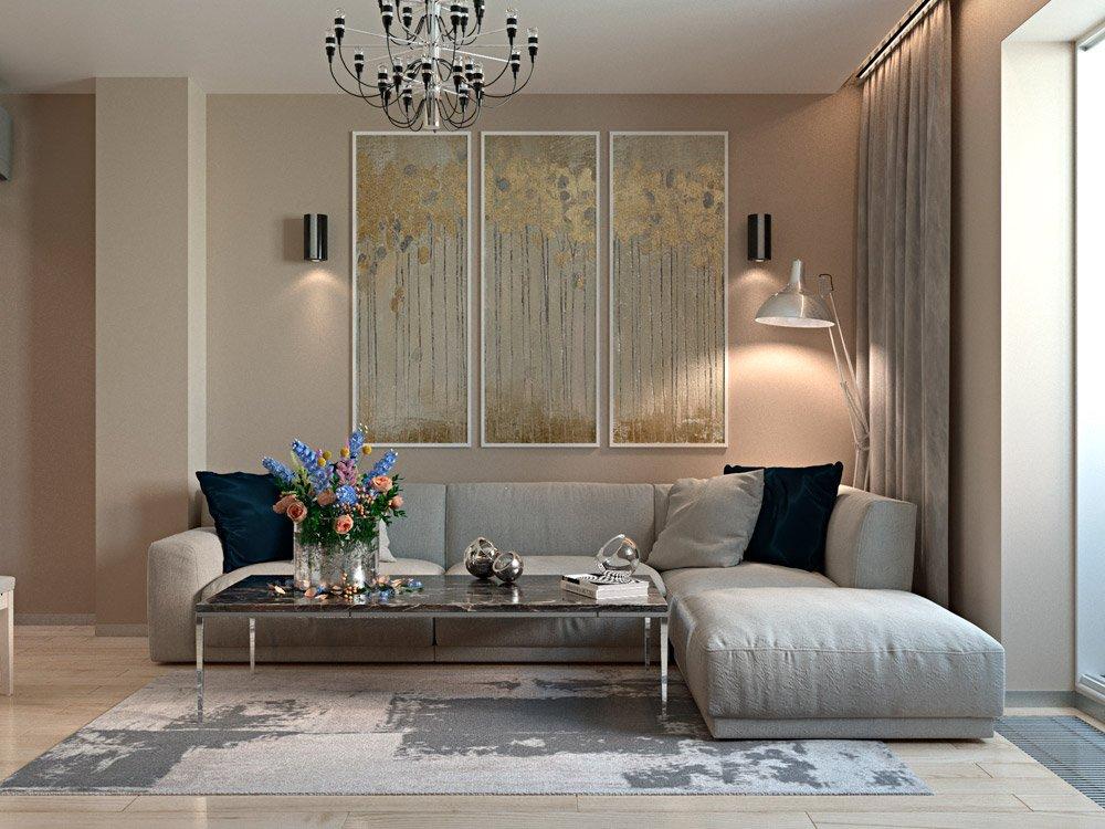 Светлый интерьер гостиной комнаты в маленькой квартире фото
