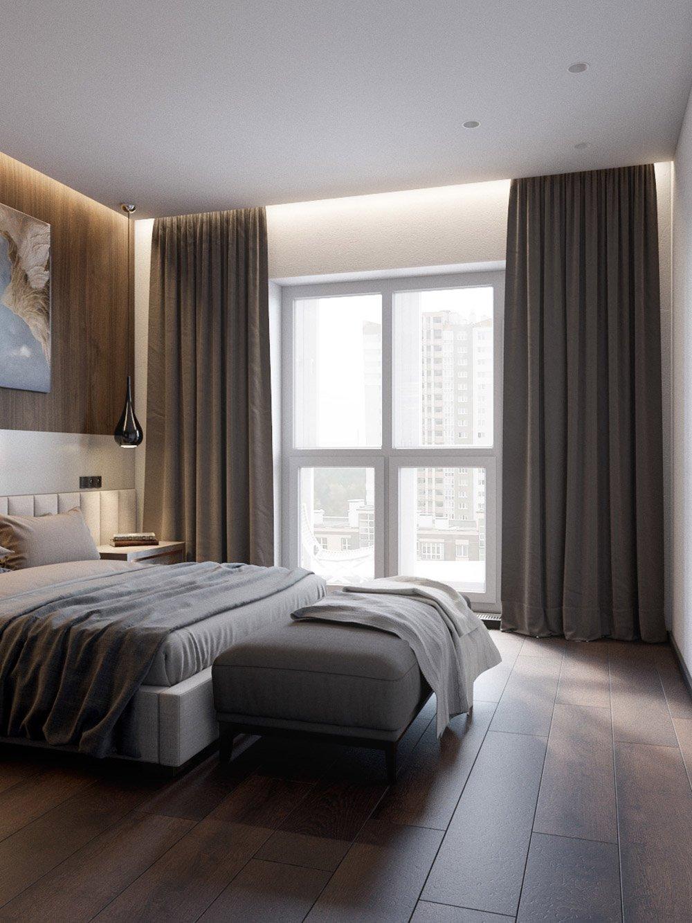 Спальня с окнами в пол