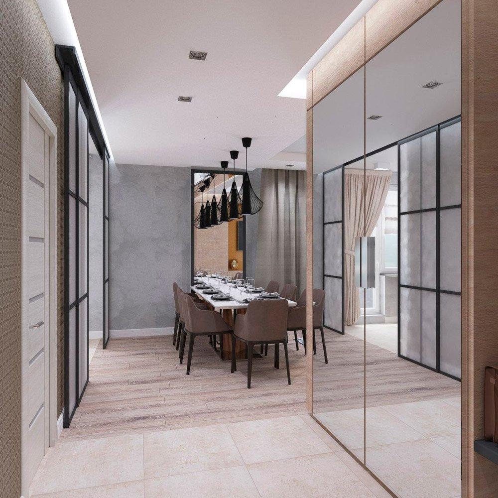 Дизайн коридора в столовую зону