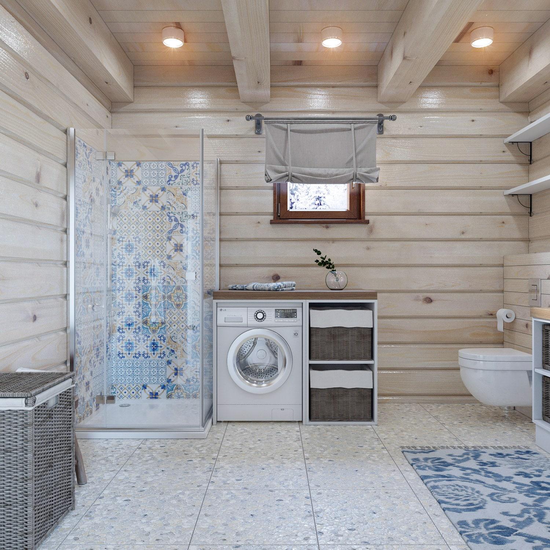 Светлый дизайн ванной в двухэтажном доме