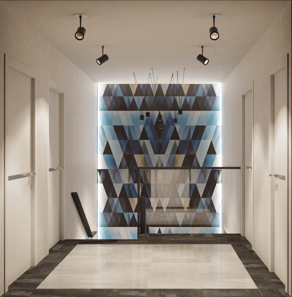 Подсветка стены в холле второго этажа дома