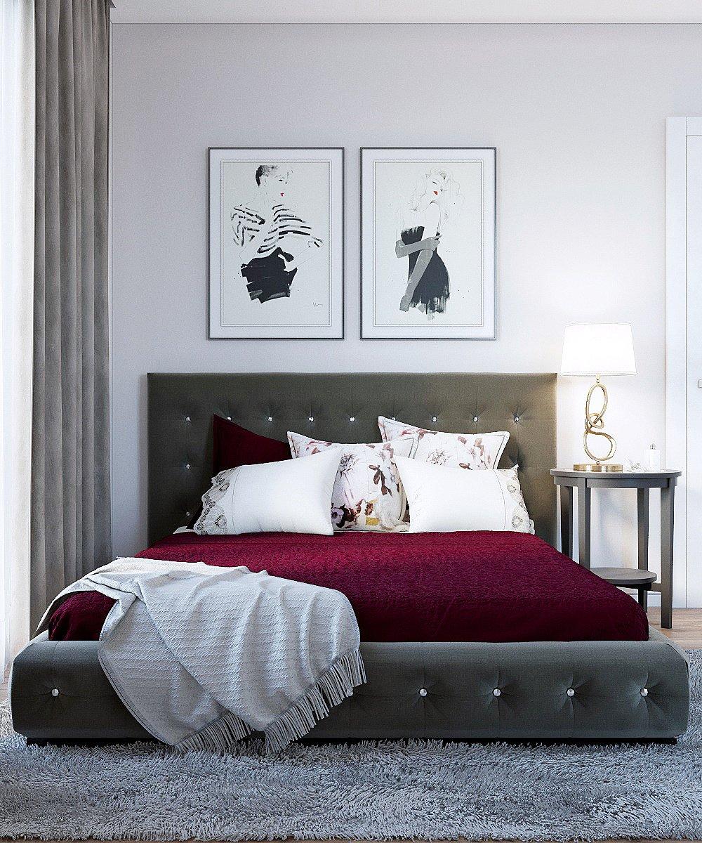 Светлая спальня с бордовым акцентом