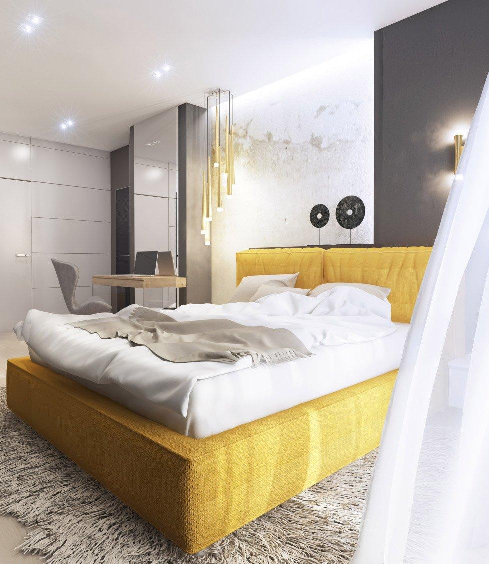 Жёлтая кровать в светлой комнате