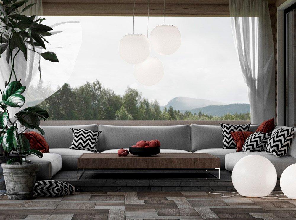 Большой диван в гостиной фото