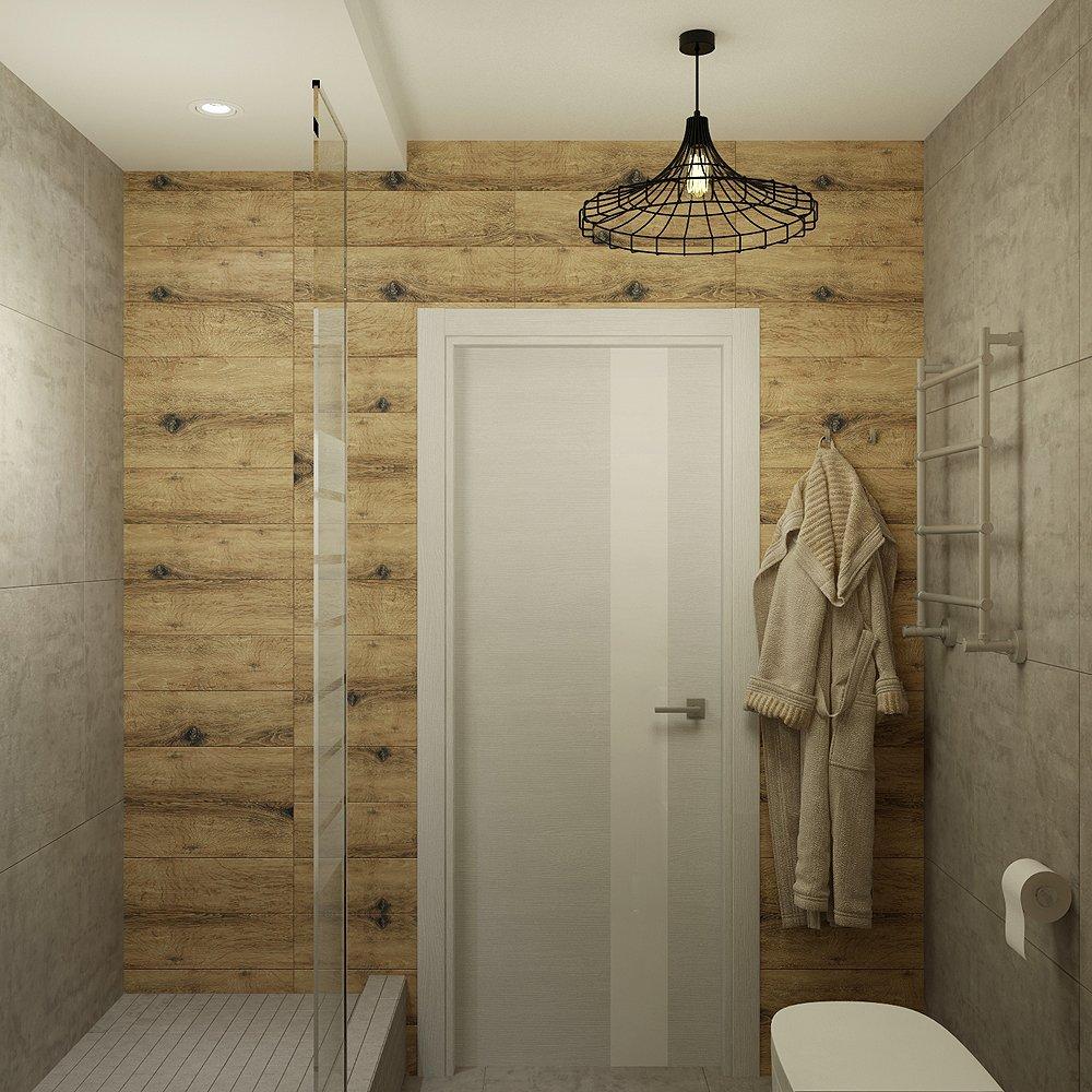 Деревянная отделка стен туалета в стиле лофт