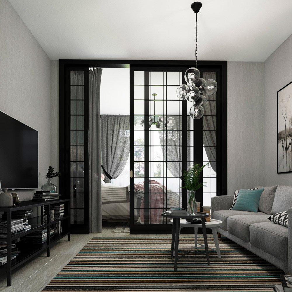 Межкомнатная перегородка лофт в интерьере квартиры