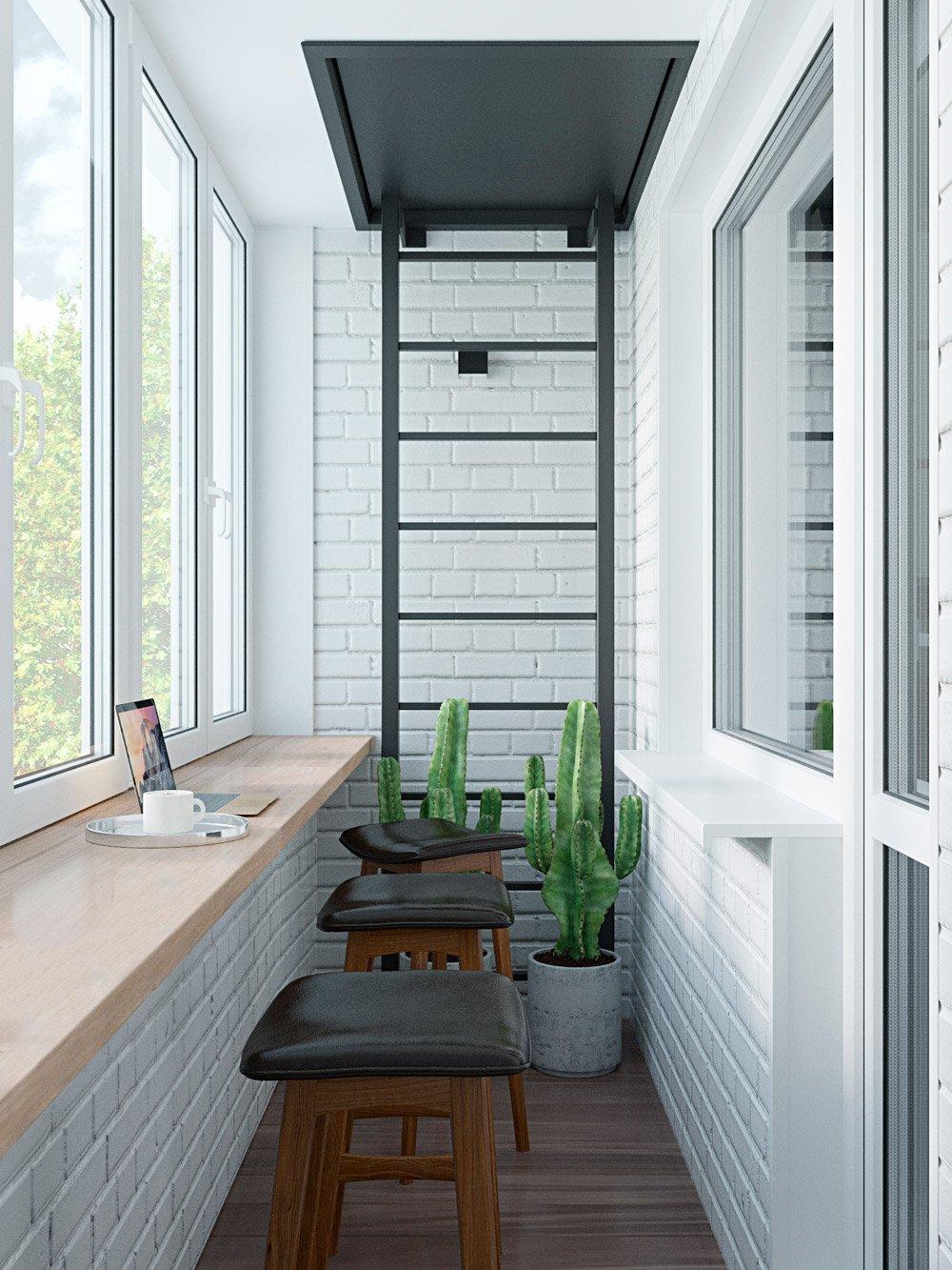 Фото балкона с кирпичными стенами