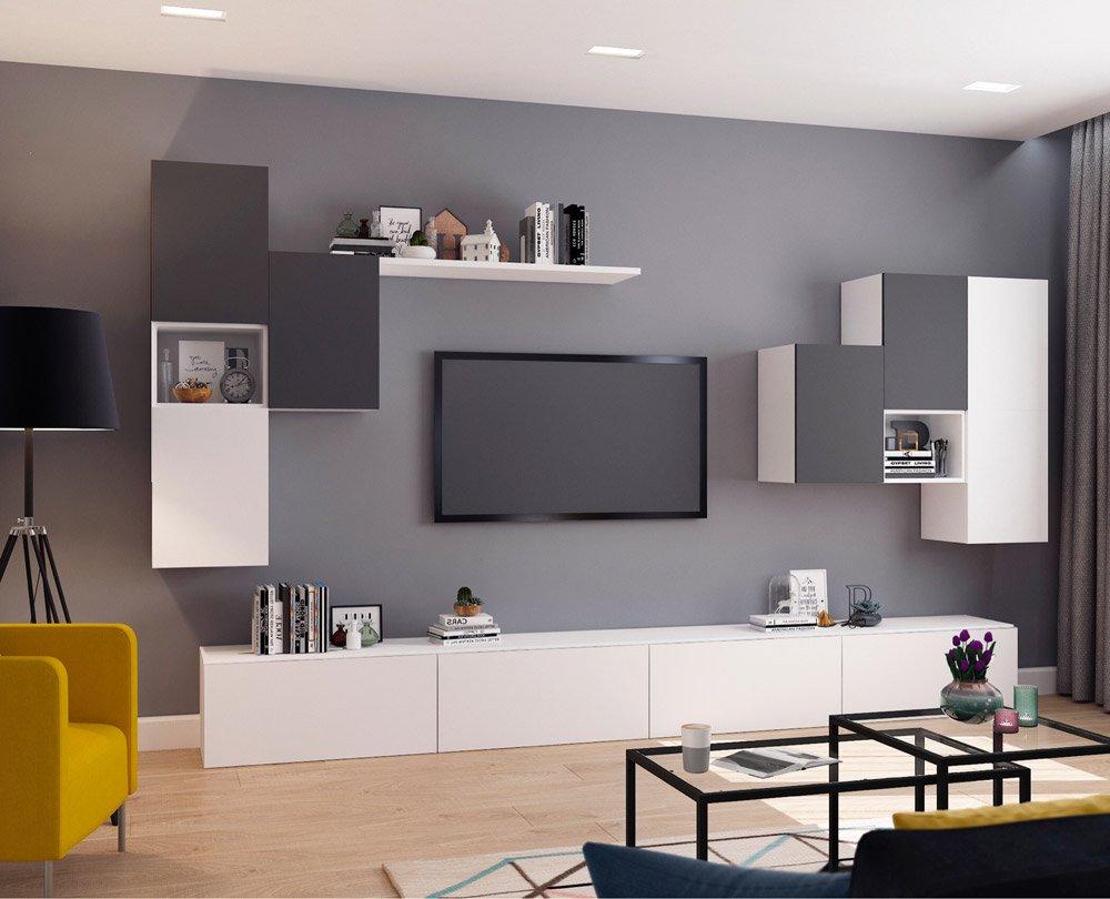 Сочетание серого и белого в интерьере гостиной