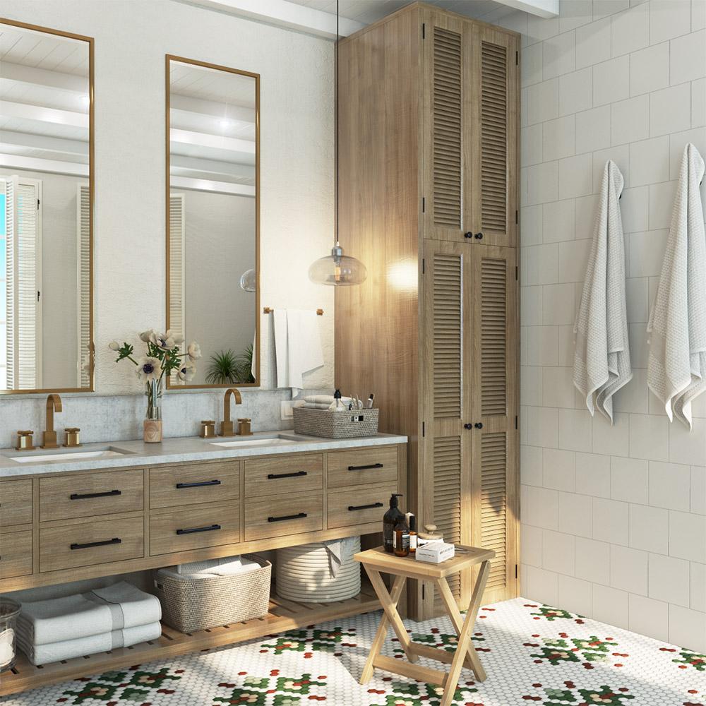 Дизайн двух раковин в большой ванной комнате