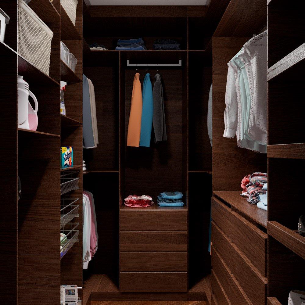 Шкаф из тёмного дерева в гардеробной