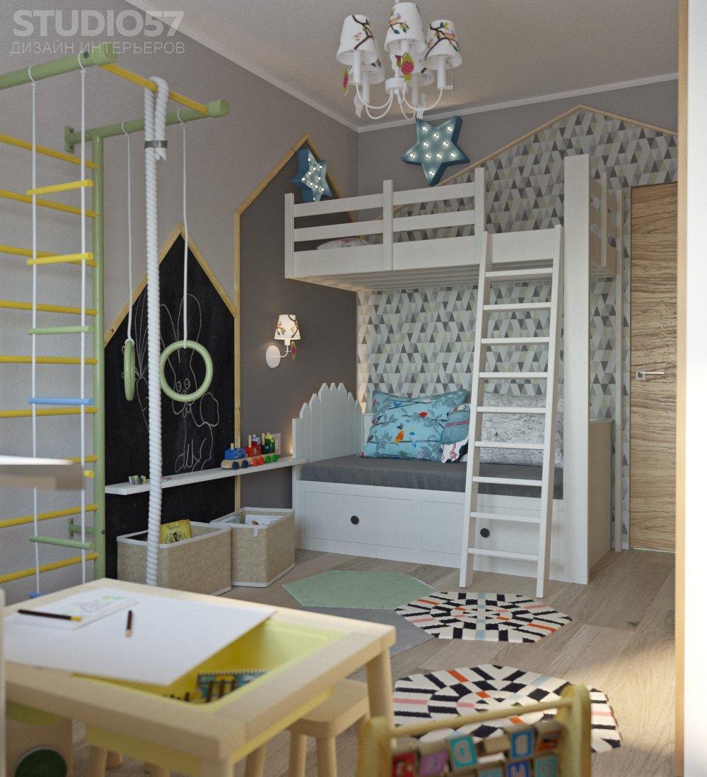 Двухэтажная кровать в дизайне детской комнаты