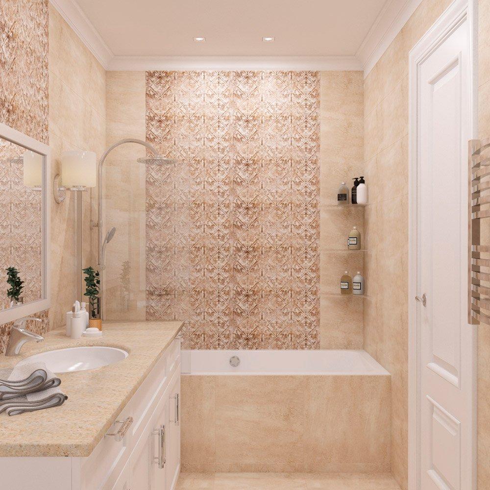Бежевая плитка в интерьере ванной