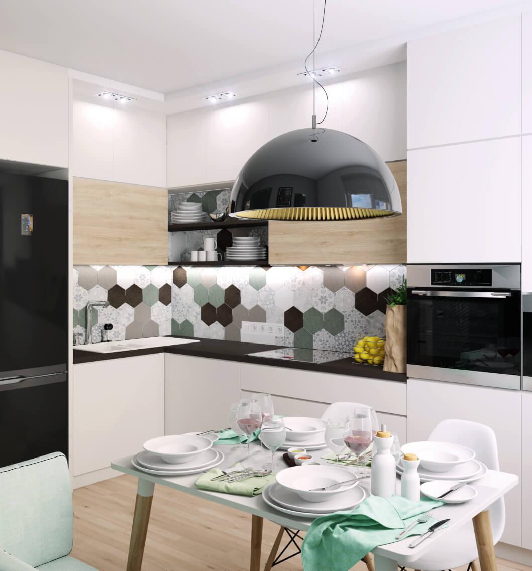 Дизайн кухни с плиткой в рабочей зоне