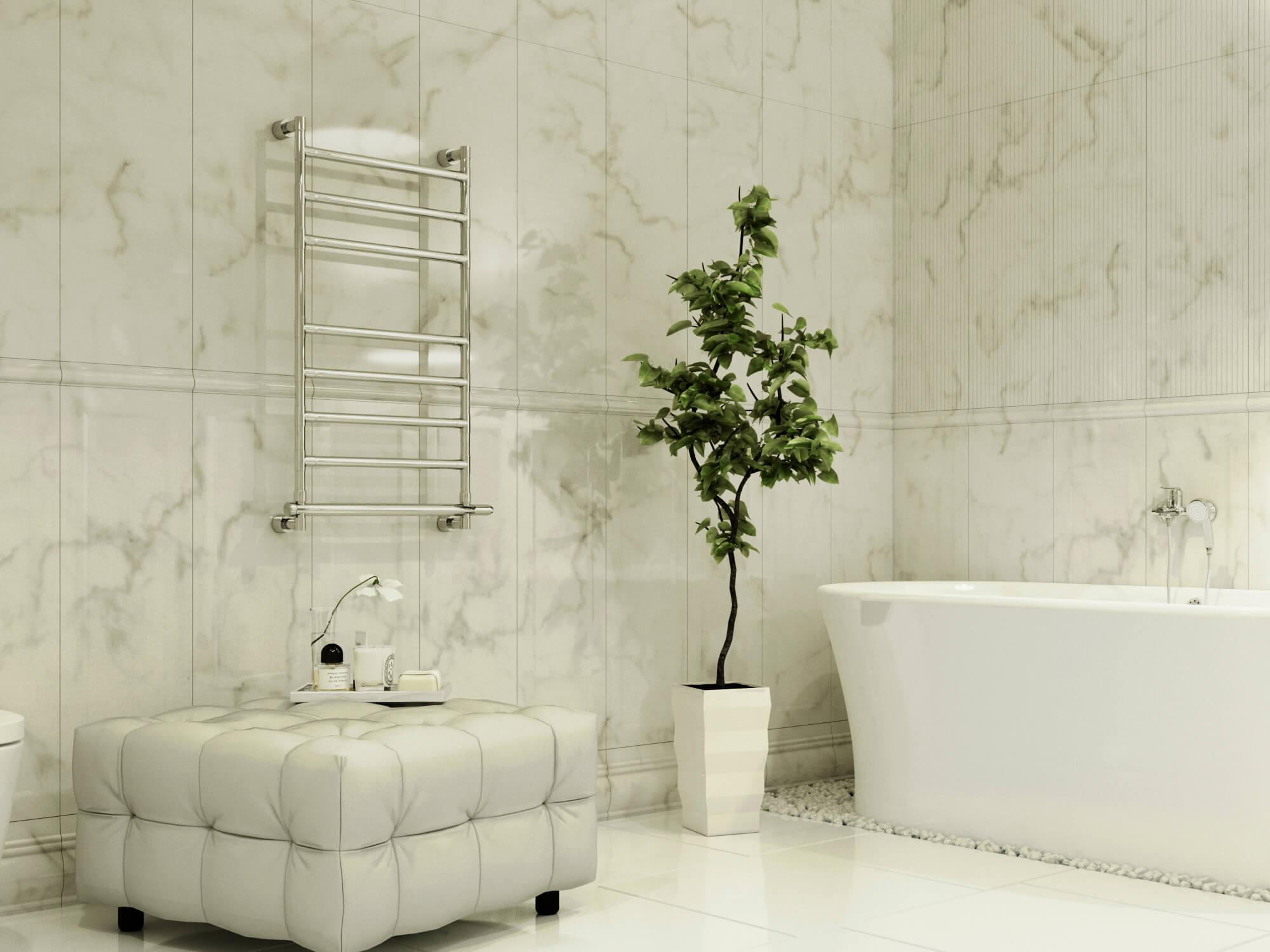 Ванна с каменной отделкой
