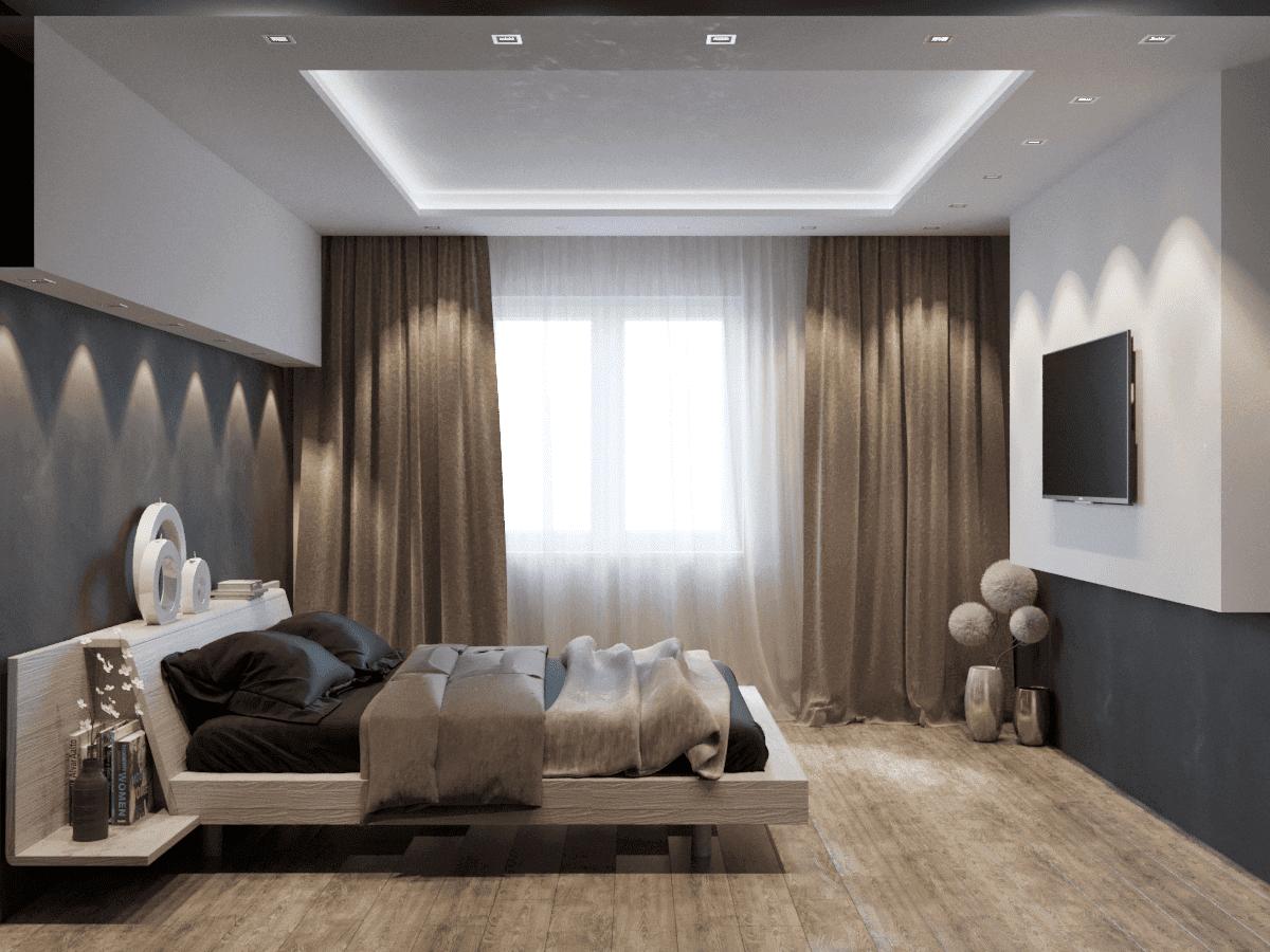 Белые двухуровневые потолки в спальне