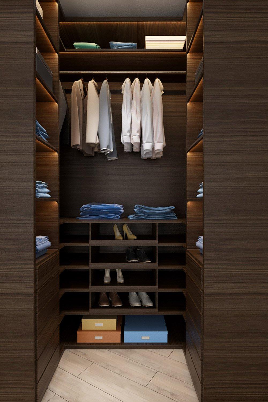 Дизайн тёмной гардеробной для мужчины