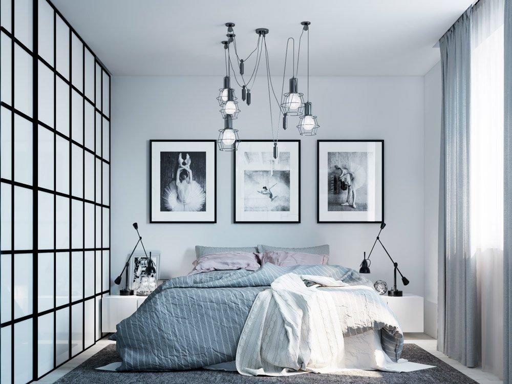 Перегородка лофт в дизайне спальной