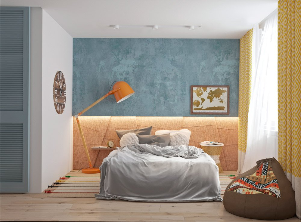 Спальня с сочетанием ярких цветов