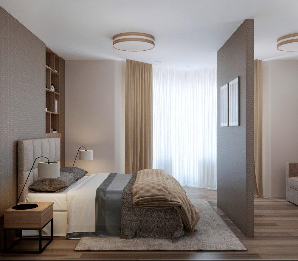 Дизайн многоугольной спальни