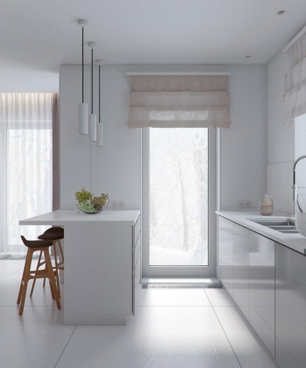 Дизайн кухни с окном в пол