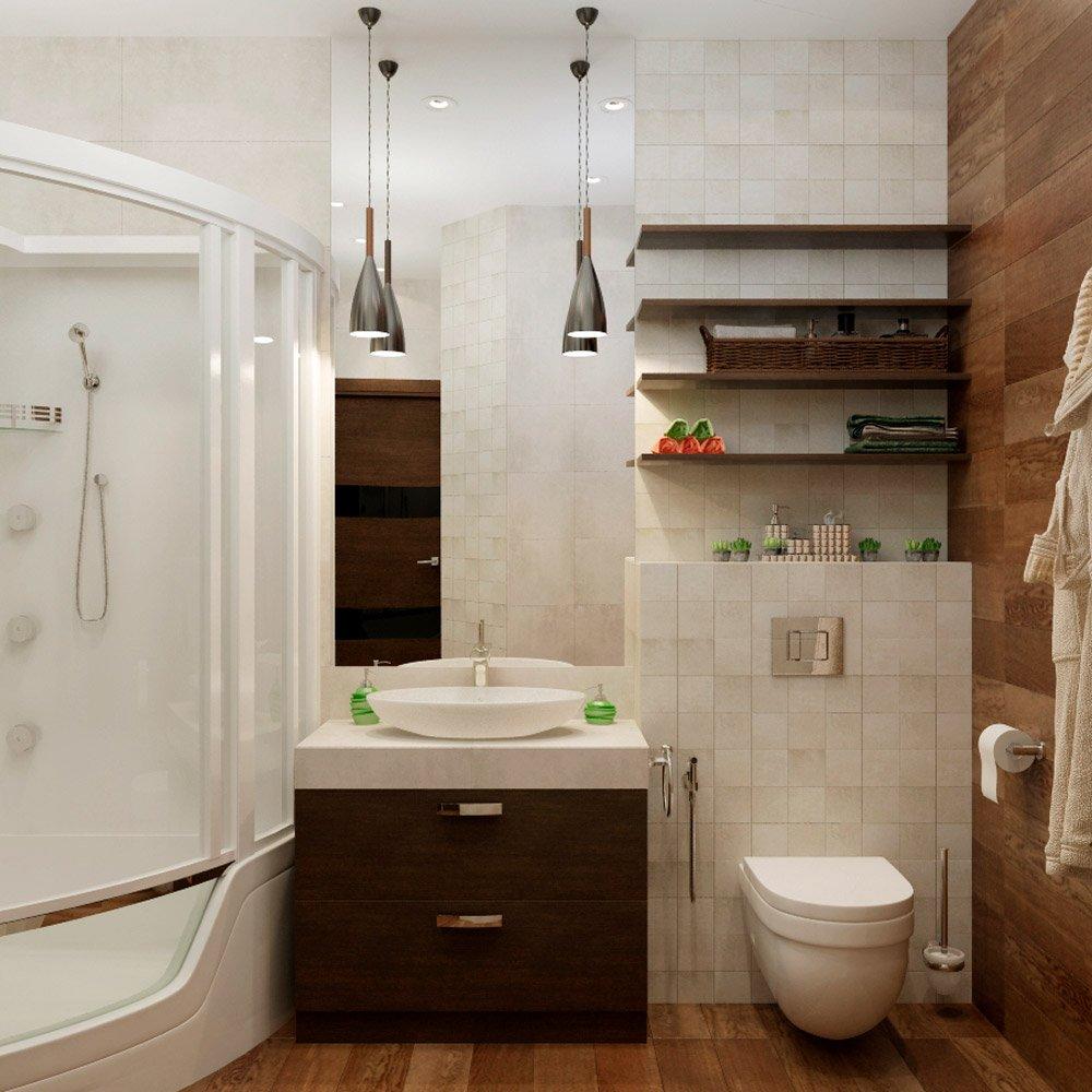 Ванная комната в коричнево-белой цветовой гамме