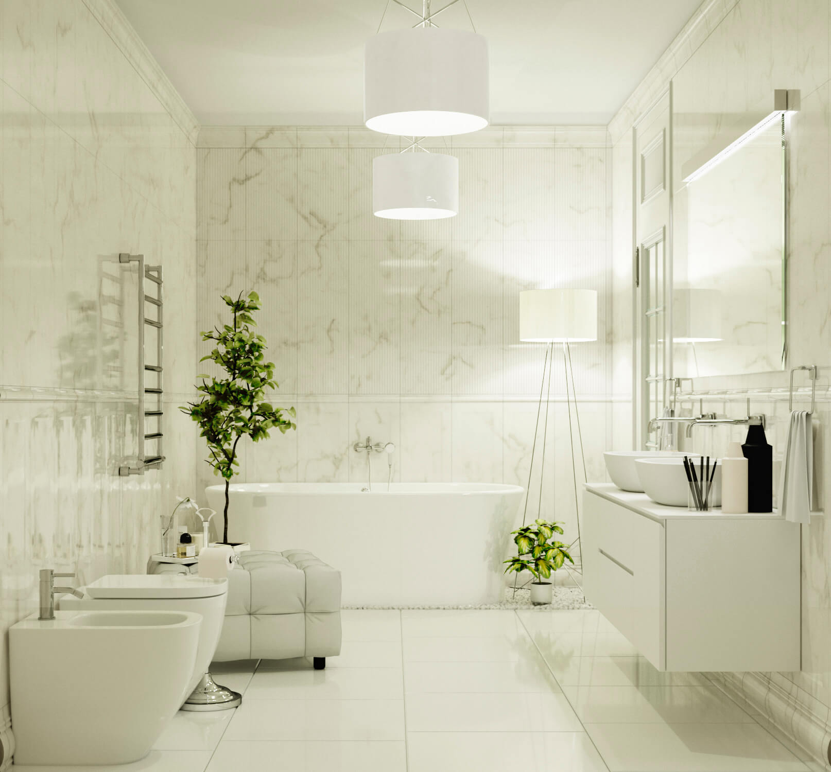 Большая ванная комната в белых оттенках