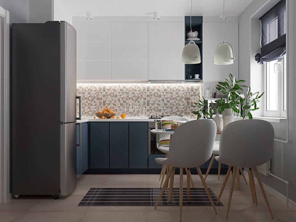 Фото дизайна кухни в однокомнатной квартире