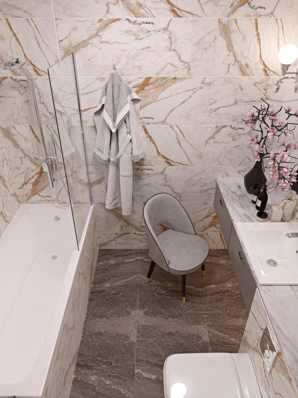 Большое зеркало в ванной дизайн