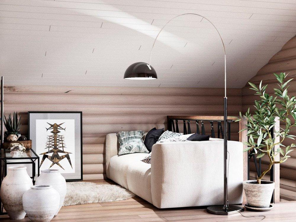 Дизайн комнаты под крышей дома