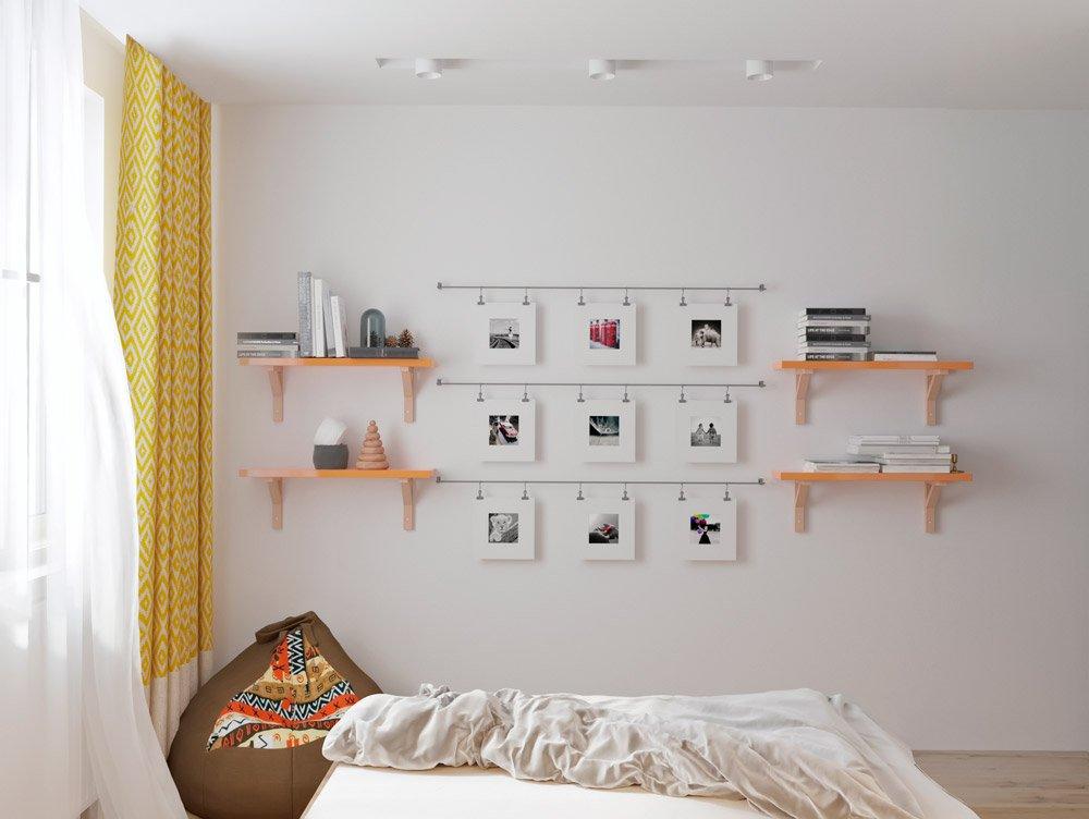 Фотографии на стене в интерьере спальни