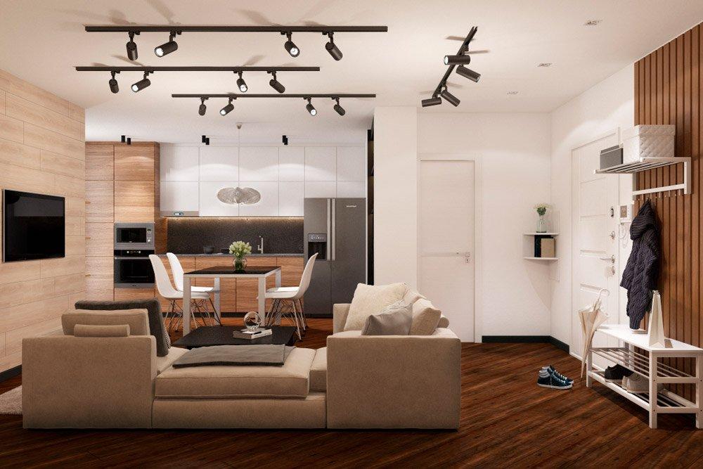 Натуральные оттенки в интерьере кухни и гостиной в квартире
