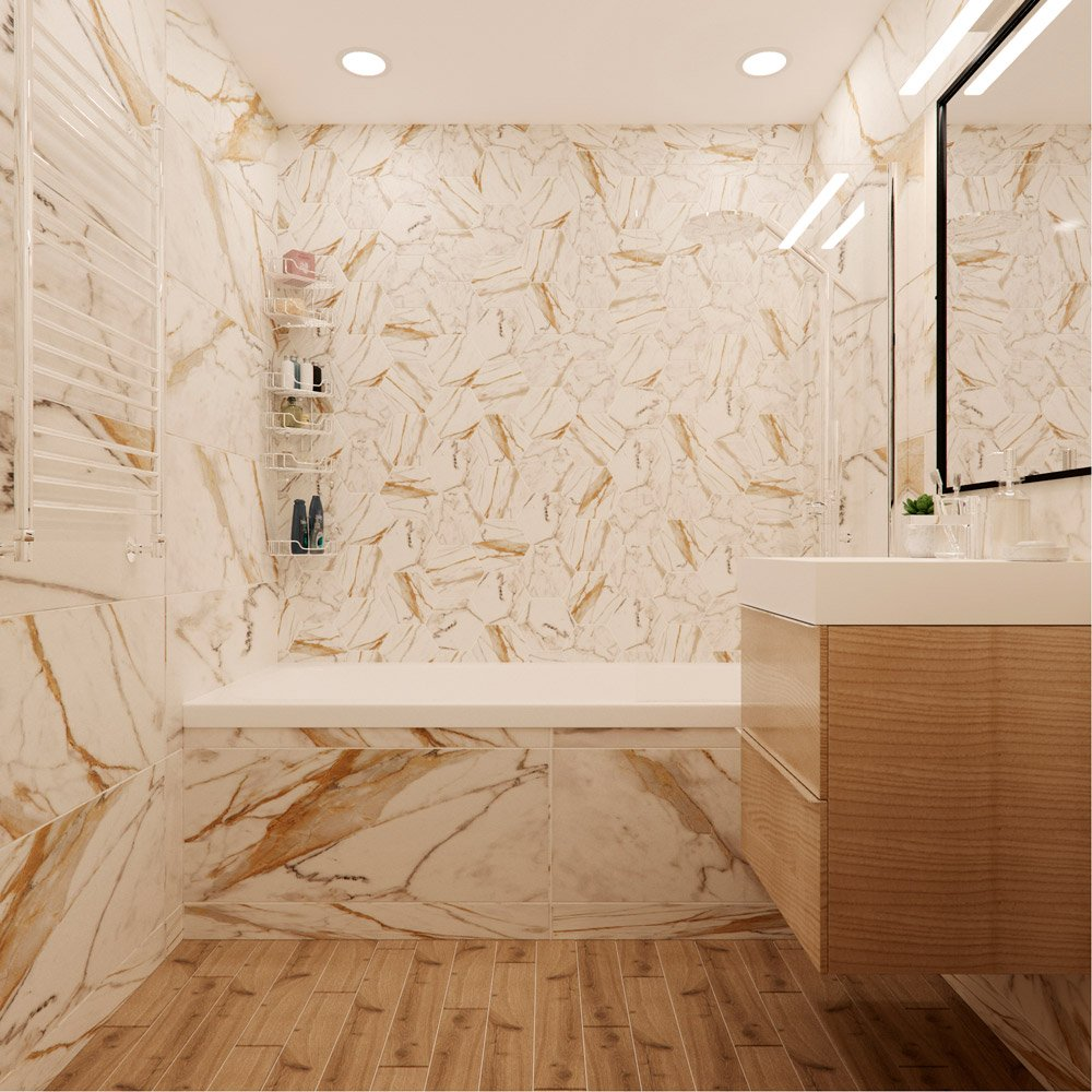 Фото ванной в белых и бежевых тонах