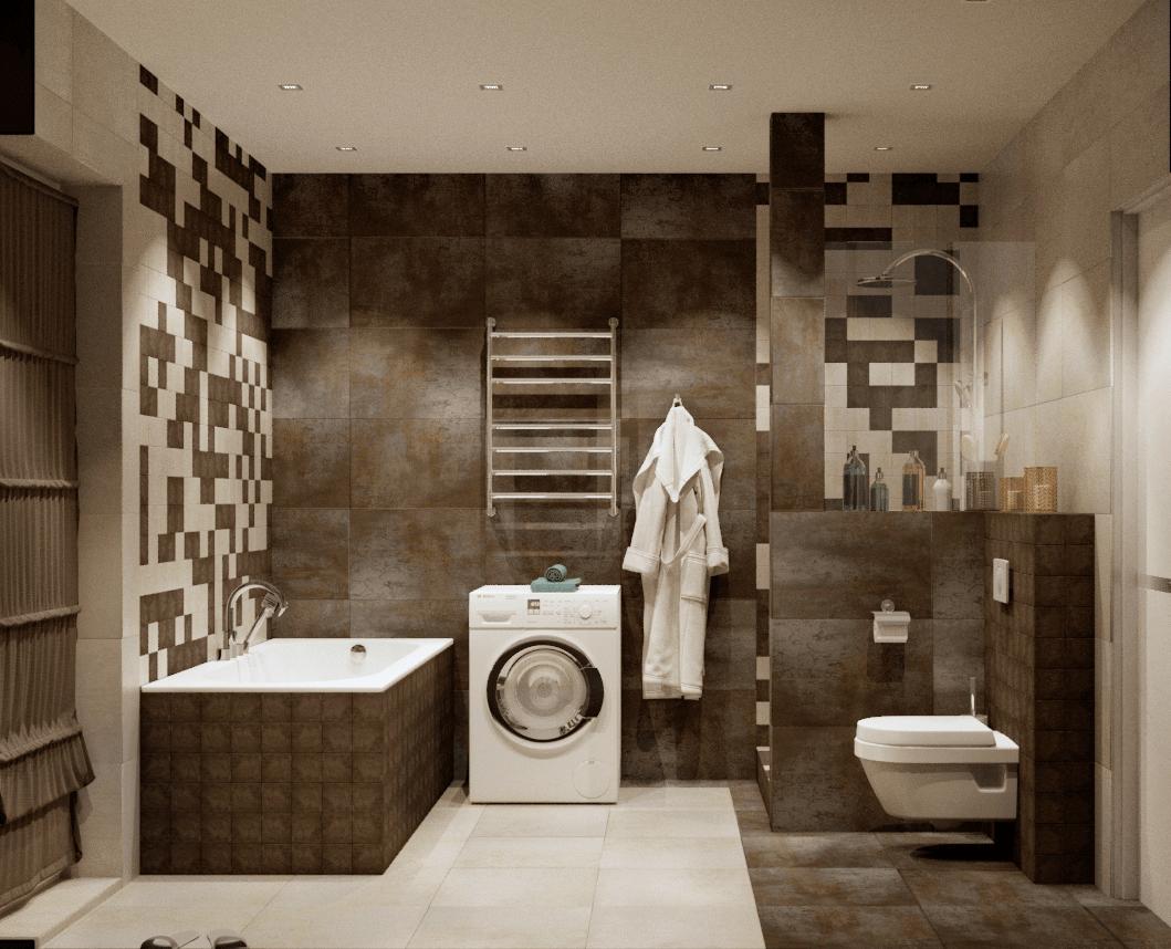 Большая ванная комната в частном доме