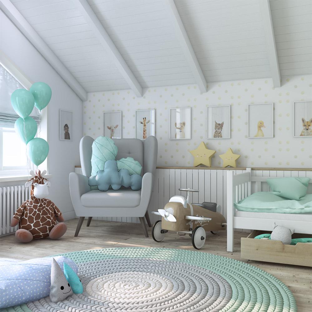 Дизайн детской под крышей дома