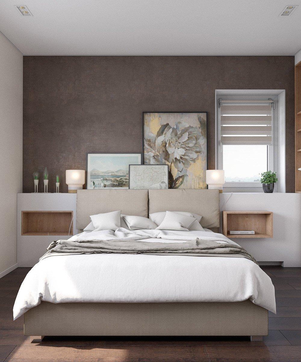 Декор спальни картинами