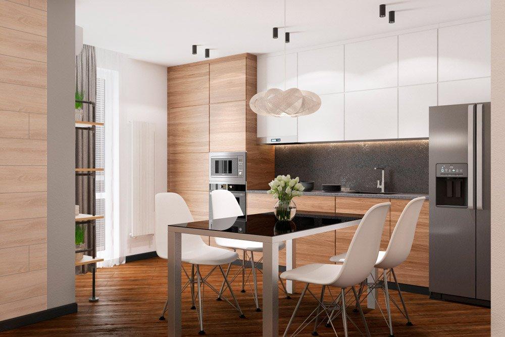 Светлое дерево в интерьере кухни