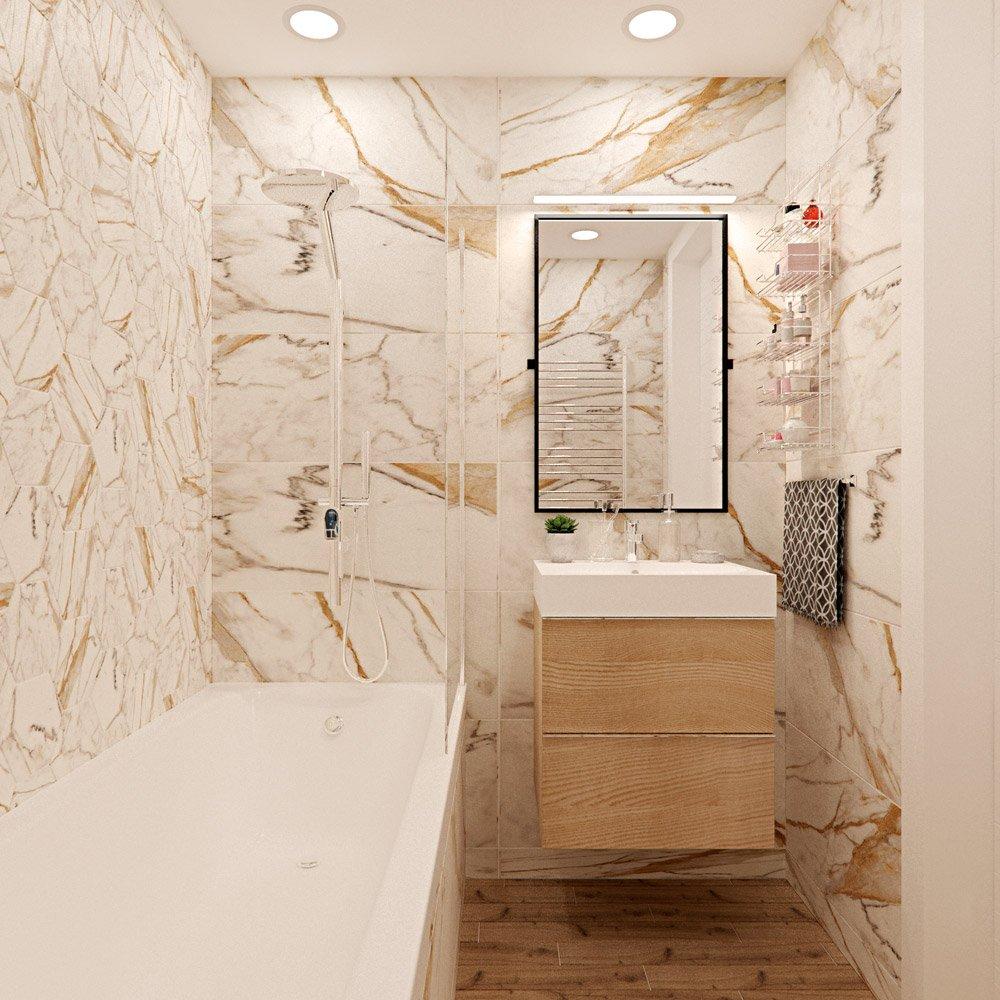 Фото ванной комнаты со светлой плиткой