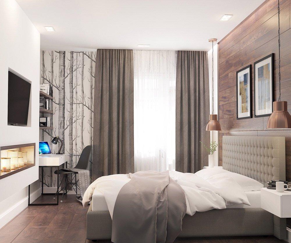 Дизайн двухспальной кровати в нежных оттенках