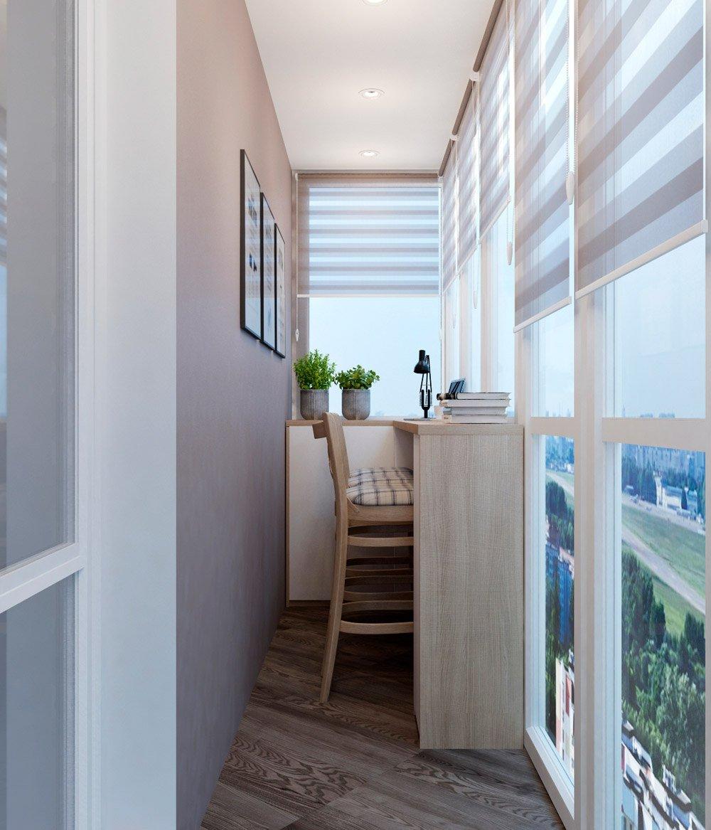 Интерьер балкона со столом