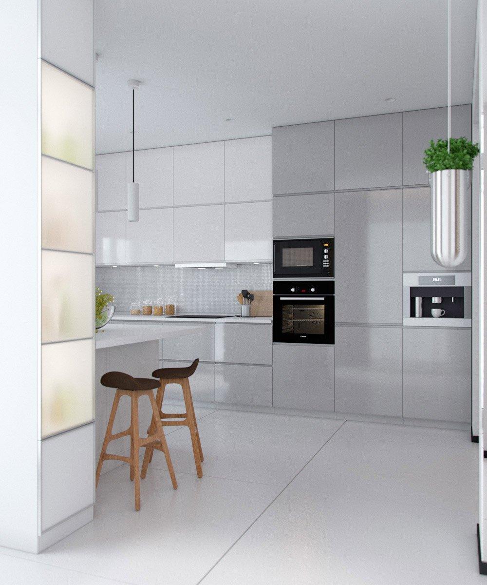 Аккуратные белые шкафы в кухню